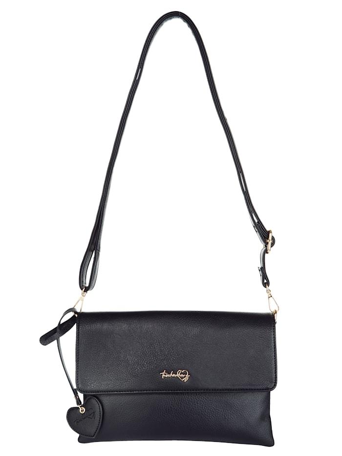 Taschenherz Clutch aus hochwertigem Softmaterial, schwarz