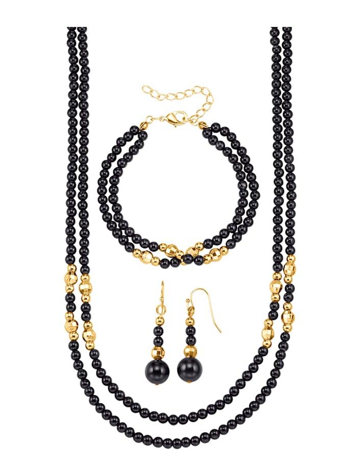 Halsband, armband & örhängen av obsidian, Svart