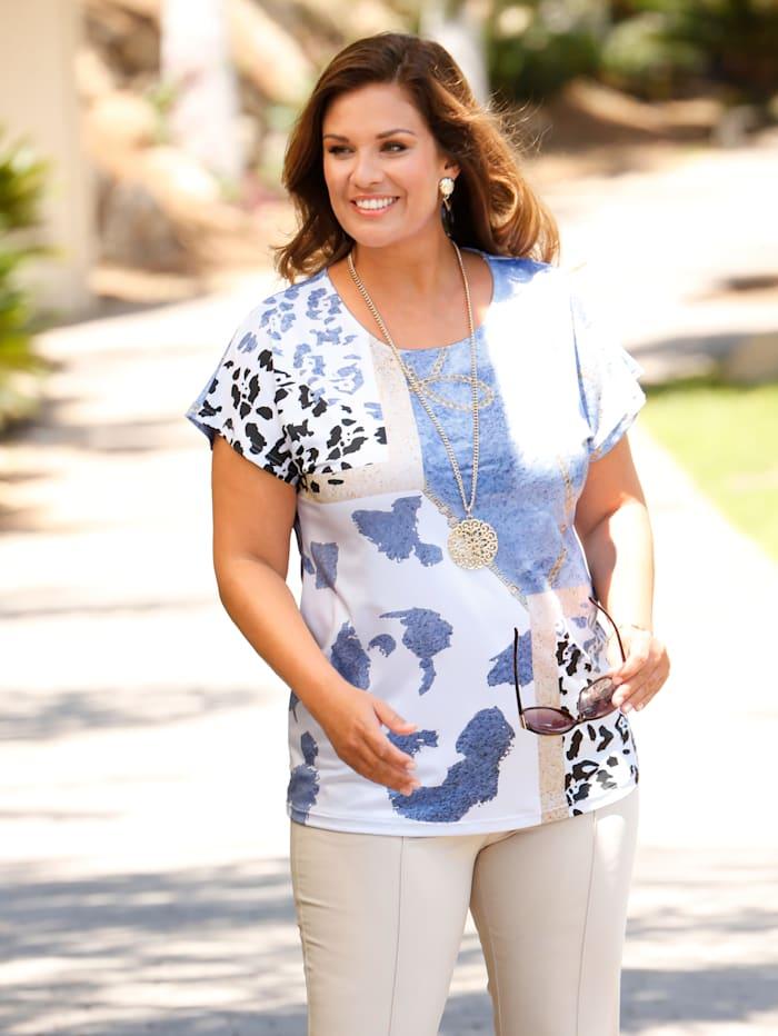 m. collection Shirt mit verschiedenen Druckmustern, Blau/Weiß/Beige