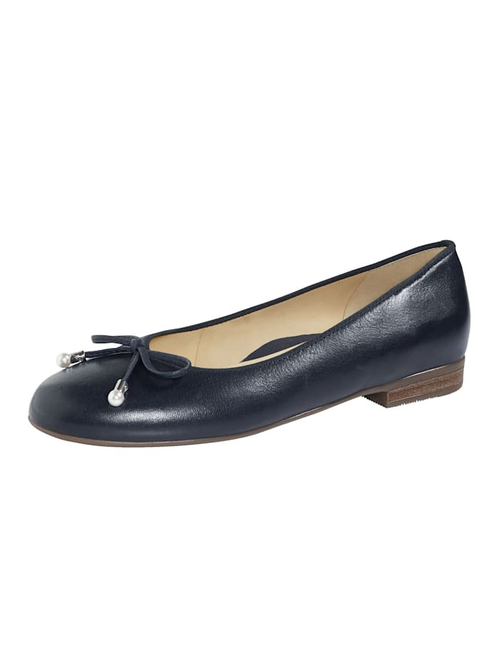 Ara Ballet Court shoes with bow detail, Dark Blue