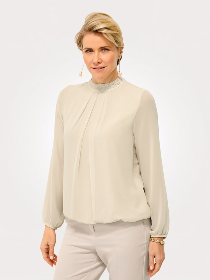 MONA Pull-on blouse with beading and rhinestones, Sand