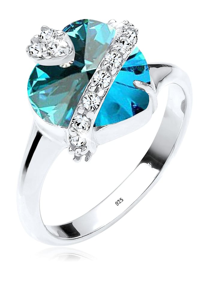 Elli Ring Herz Swarovski® Kristalle 925 Sterling Silber, Blau