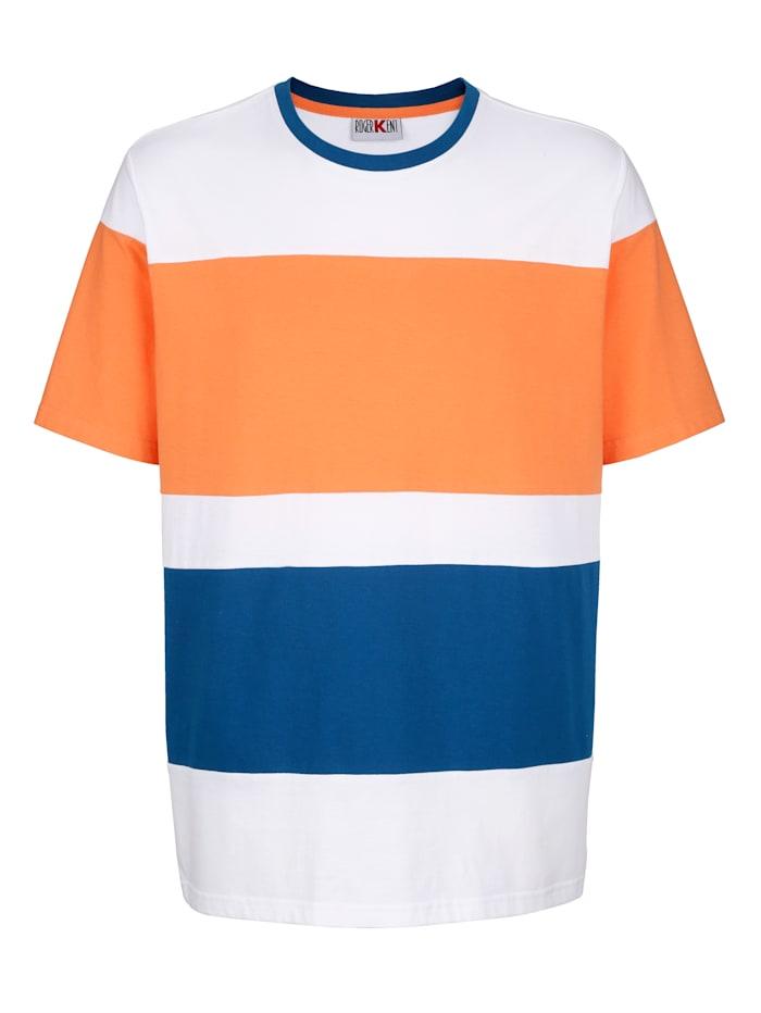 Roger Kent T-Shirt mit Kontrasteinsätzen, Orange/Weiß