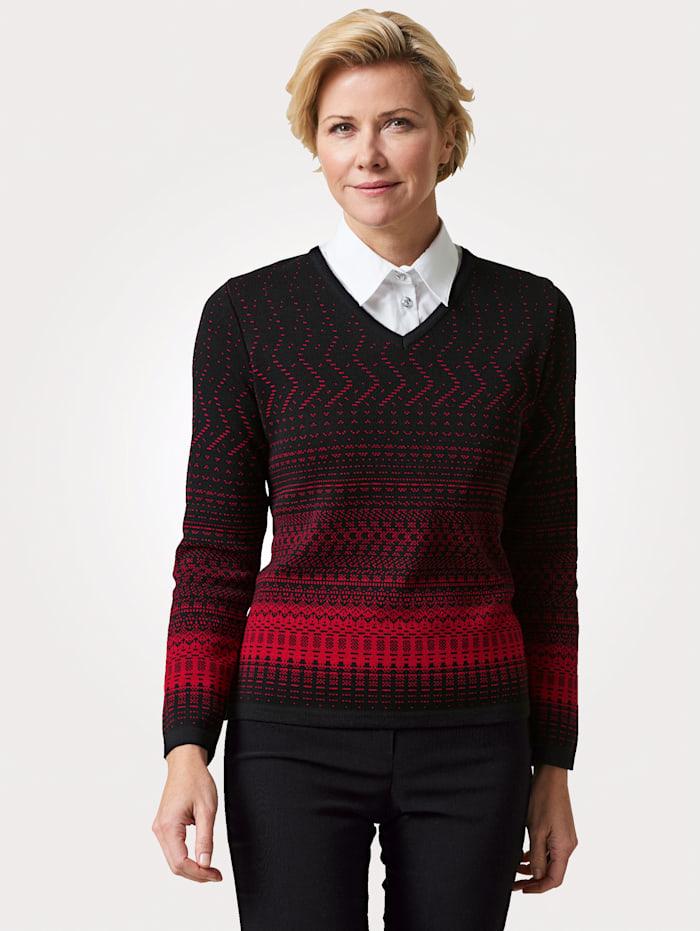 MONA Pullover mit grafischem Strickmuster, Schwarz/Rot