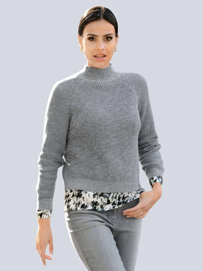 Alba Moda Pullover in Halb-Patentstrick, Salbeigrün/Off-white