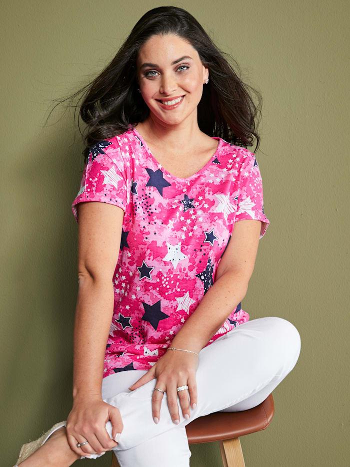 MIAMODA Shirt mit Sternenmotiv, Pink
