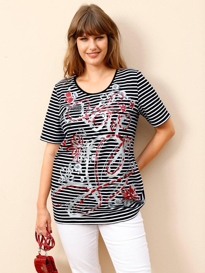 MIAMODA Shirt mit Dekosteinchen, Schwarz/Weiß