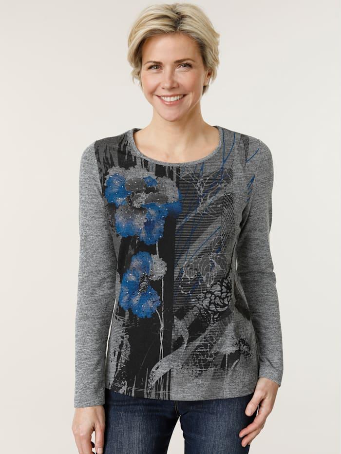 MONA Shirt floral bedruckt, Grau/Blau