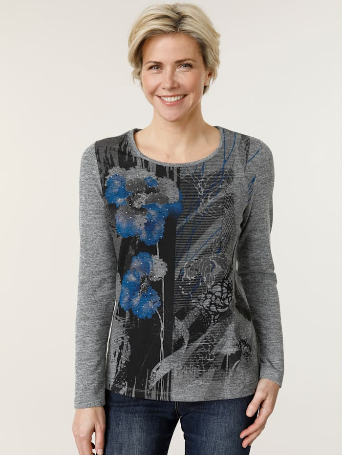 MONA Top with a floral print, Grey/Blue