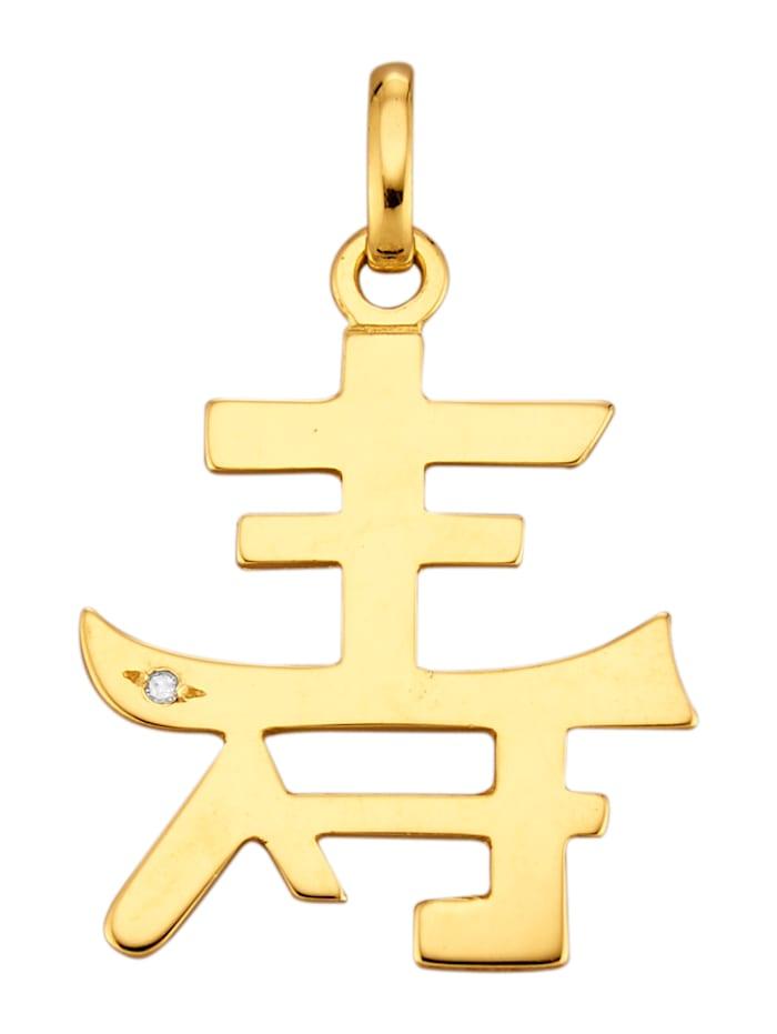 Hänge med kinesiskt tecken, Guldfärgad