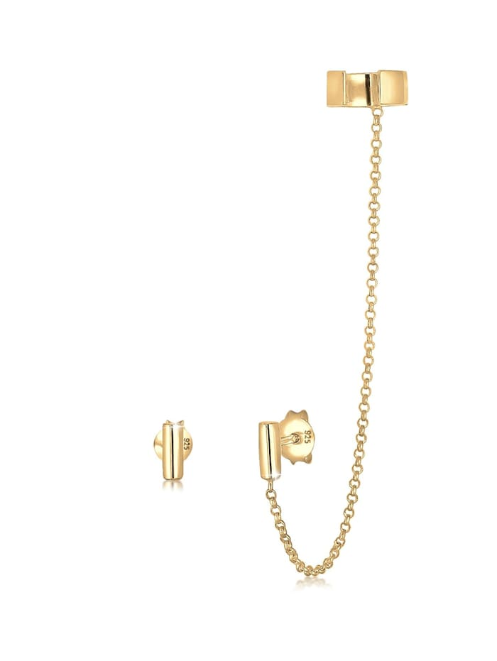 Elli Ohrringe Earcuff Klemme Asymmetrisch Minimal Geo 925 Silber, Gold