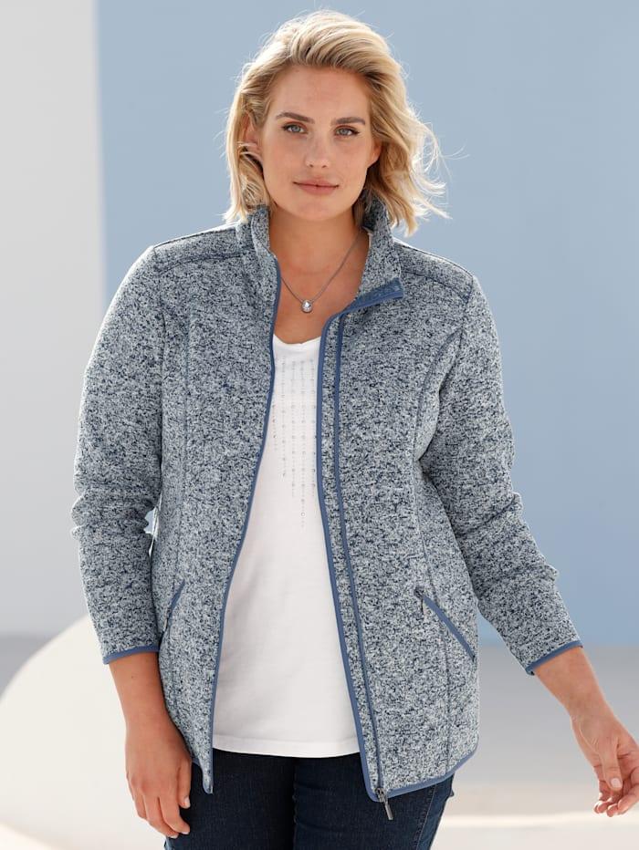 m. collection Fleece vest met flatterende contrastnaden, Marine