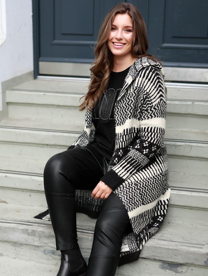 Sara Lindholm Gebreid vest met capuchon, Zwart/Offwhite