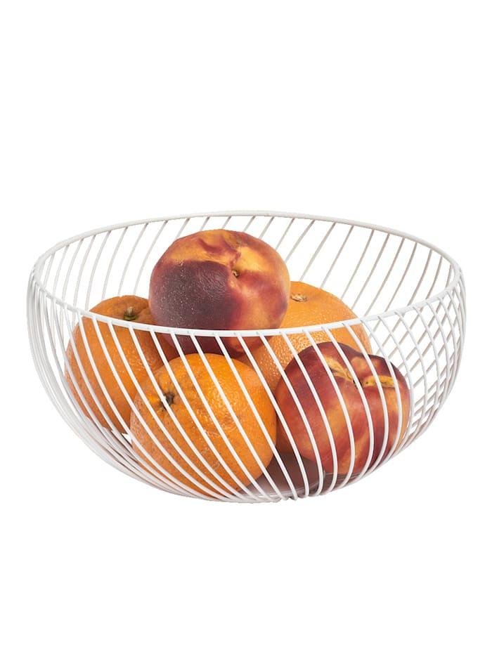 Zeller Panier à fruit filaire, métal blanc, Blanc
