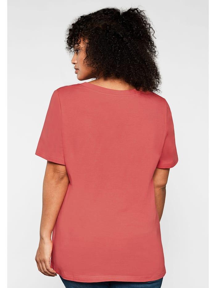 Sheego T-Shirt mit tiefem V-Ausschnitt und Palmenprint vorn