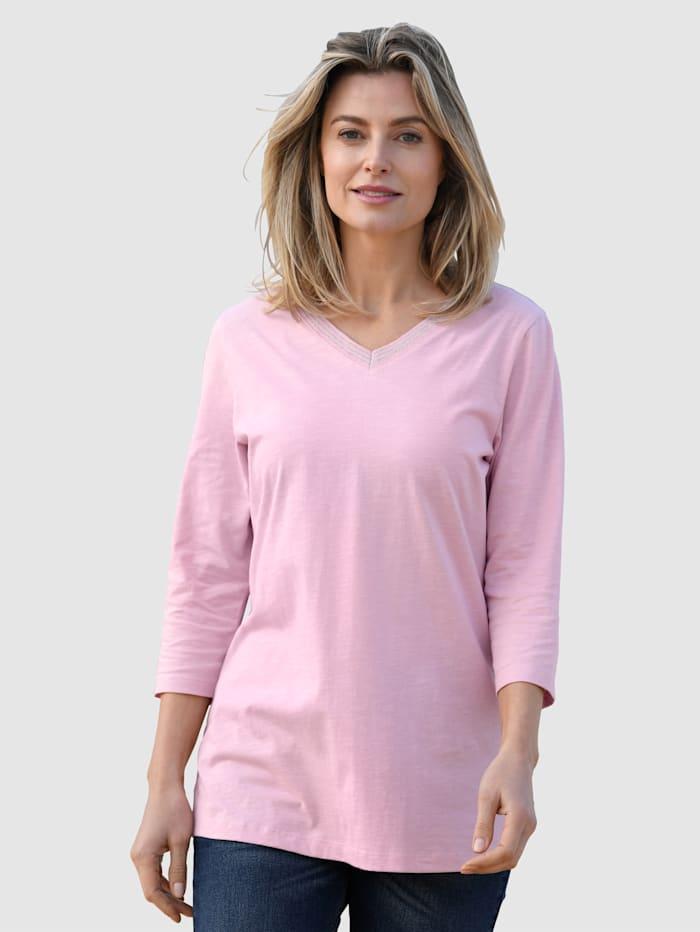 basically you Shirt met glansgaren aan de V-hals, Lavendel