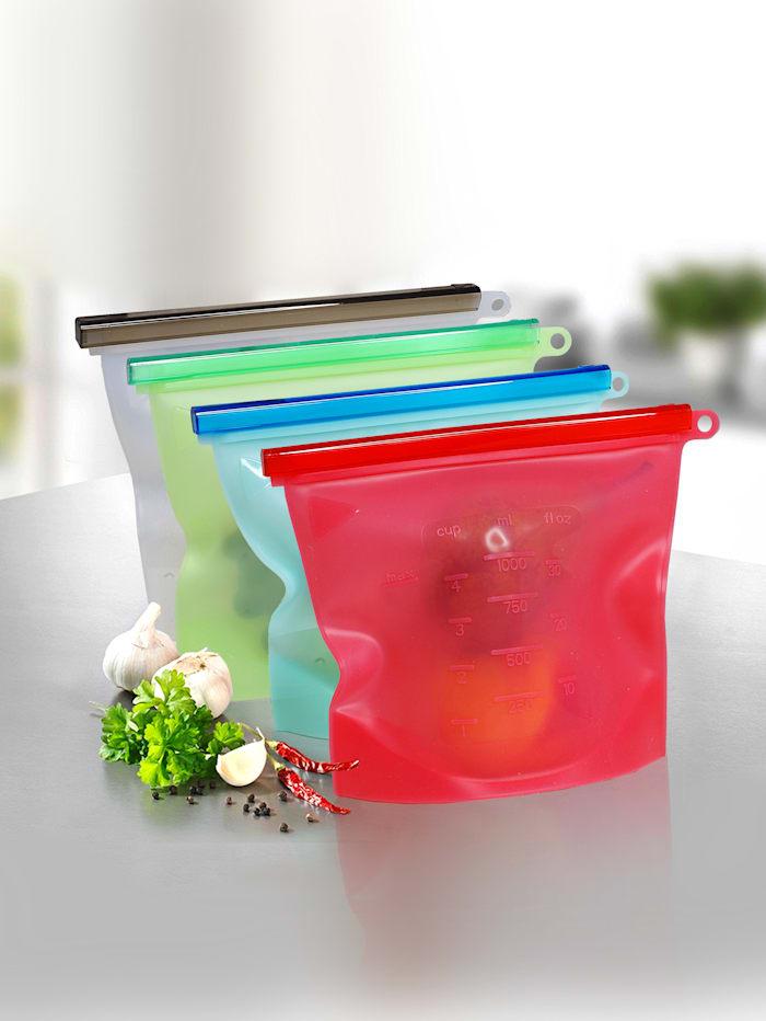 Set van 4 diepvries en bewaarzakjes Silicone Magic, multicolor