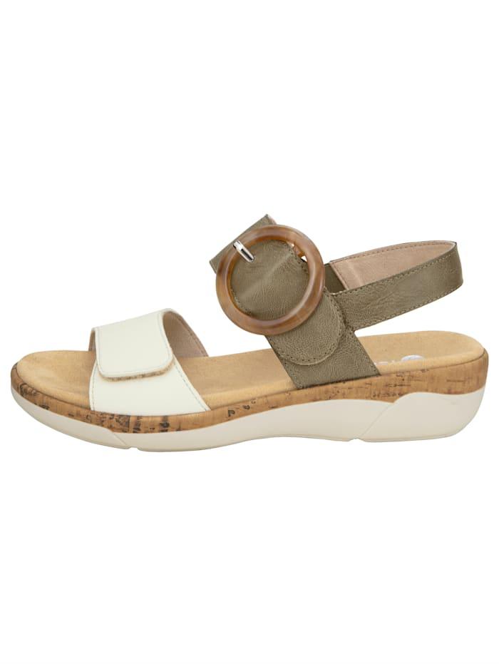 Sandale mit imposanter Zierapplikation