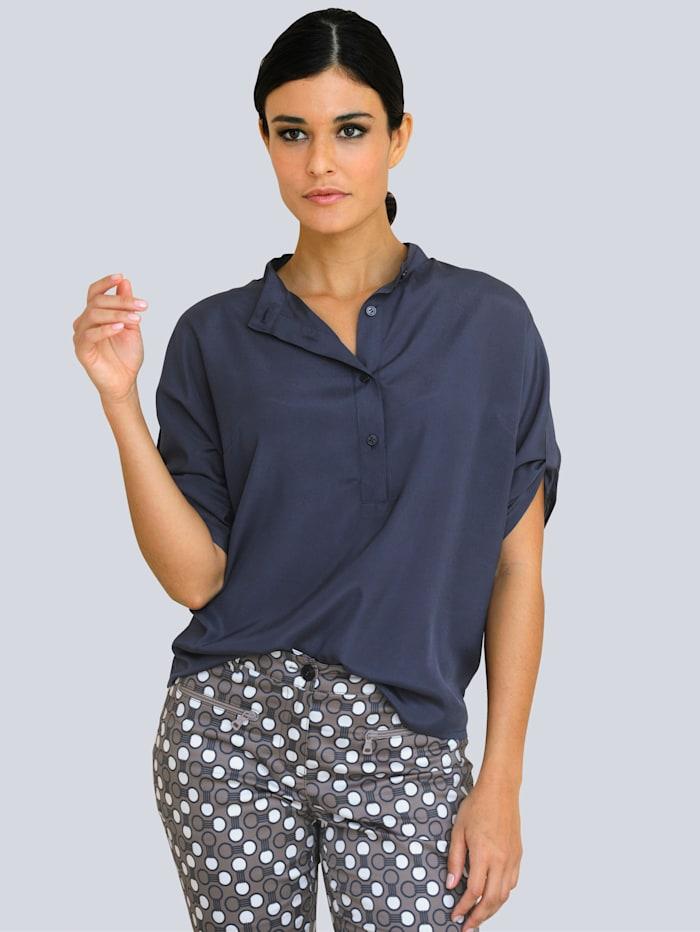 Alba Moda Bluse in leichter Oversized-Form, Rauchblau