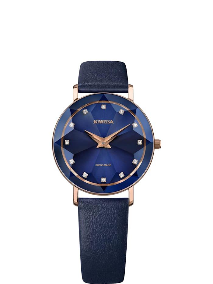 Jowissa Quarzuhr Facet Swiss Ladies Watch, blaurosa
