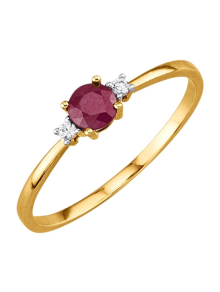 Damenring mit Rubin und Diamanten, Rot