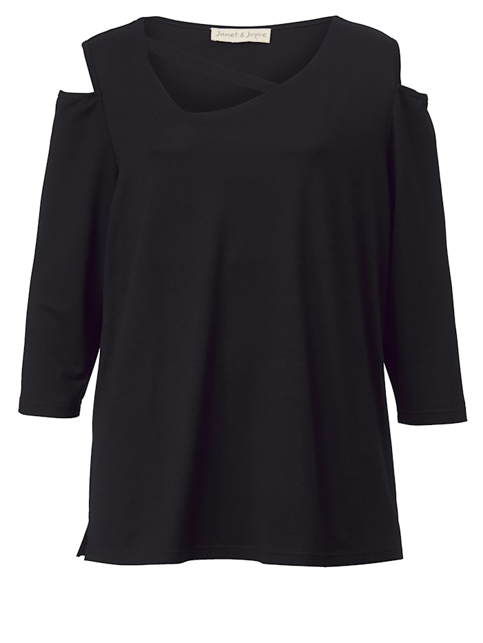 Janet & Joyce Shirt met cut-out, Zwart