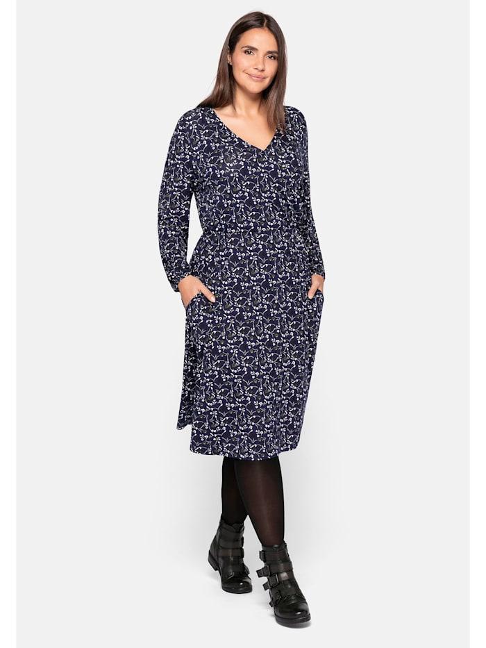 Sheego Sheego Jerseykleid mit Wickeloptik, lila bedruckt