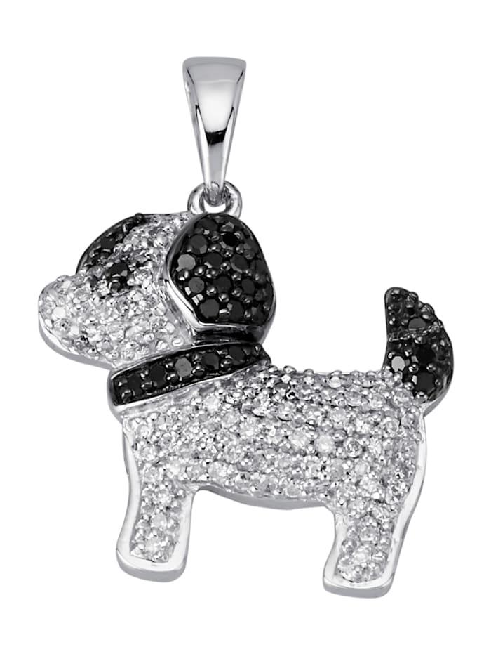Diemer Diamant Hunde-Anhänger mit weißen und schwarzen Diamanten, Weiß