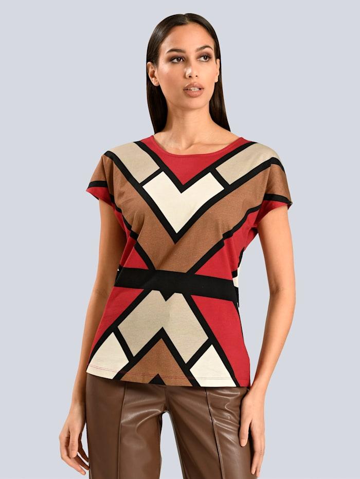 Alba Moda Shirt im grafischen Dessin, Rot/Grau/Schwarz/Camel
