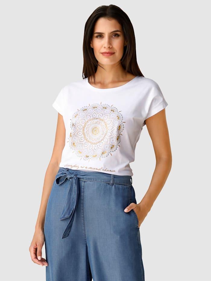Laura Kent T-shirt à imprimé placé et broderies devant, Écru