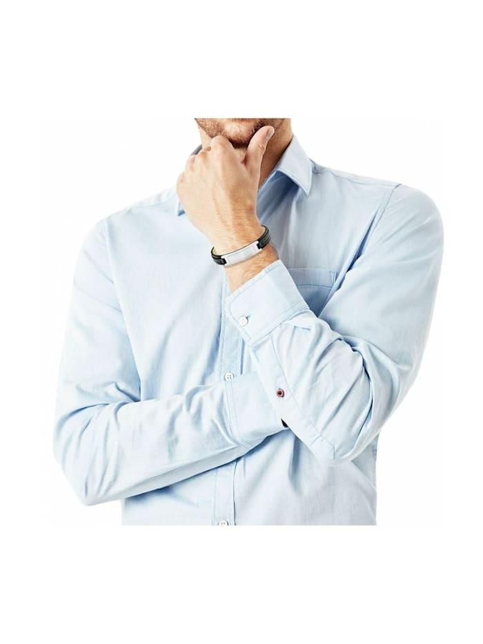 Leder ID-Armband für Herren, Edelstahl