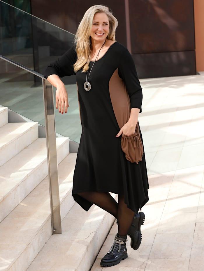 MIAMODA Kleid mit kontrastfarbenen Einsätzen und Taschen, Schwarz/Braun