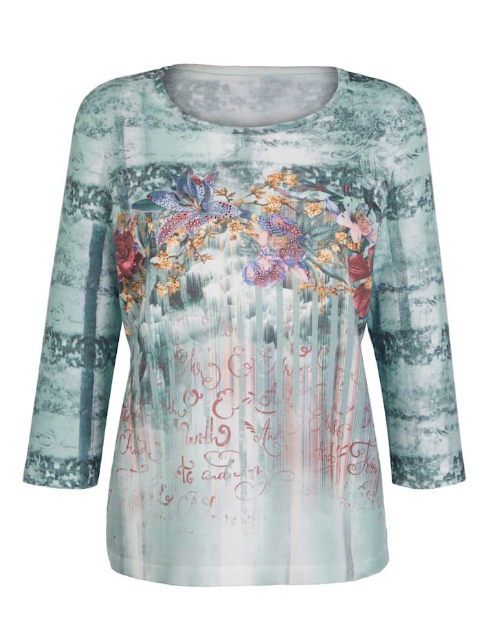 Pullover mit grafischen und floralen Dessin