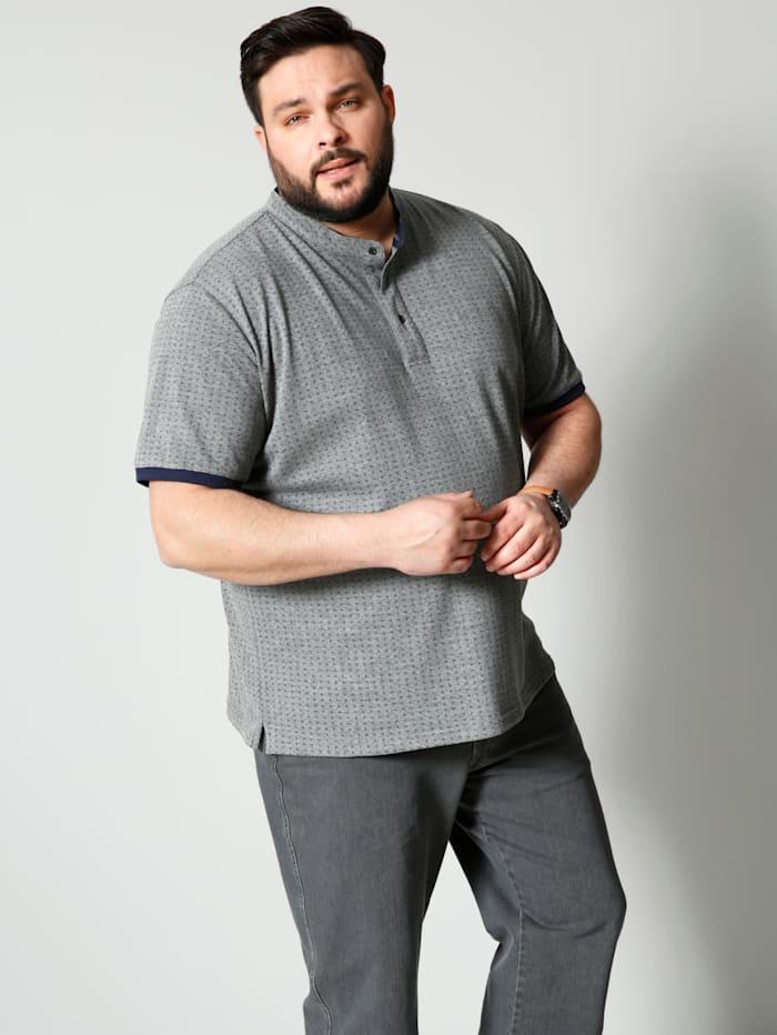 Men Plus Henleyshirt mit minimal Print, Grau/Blau