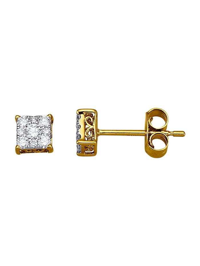 Amara Diamants Boucles d'oreilles en or jaune 585, Blanc