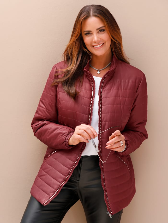 Doorgestikte jas met fluwelen band met pailletten