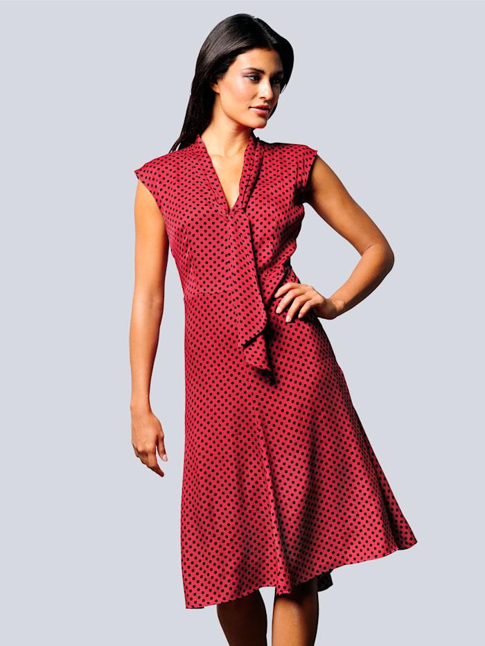 Alba Moda Kjole med prikkemønster, Rød/Svart