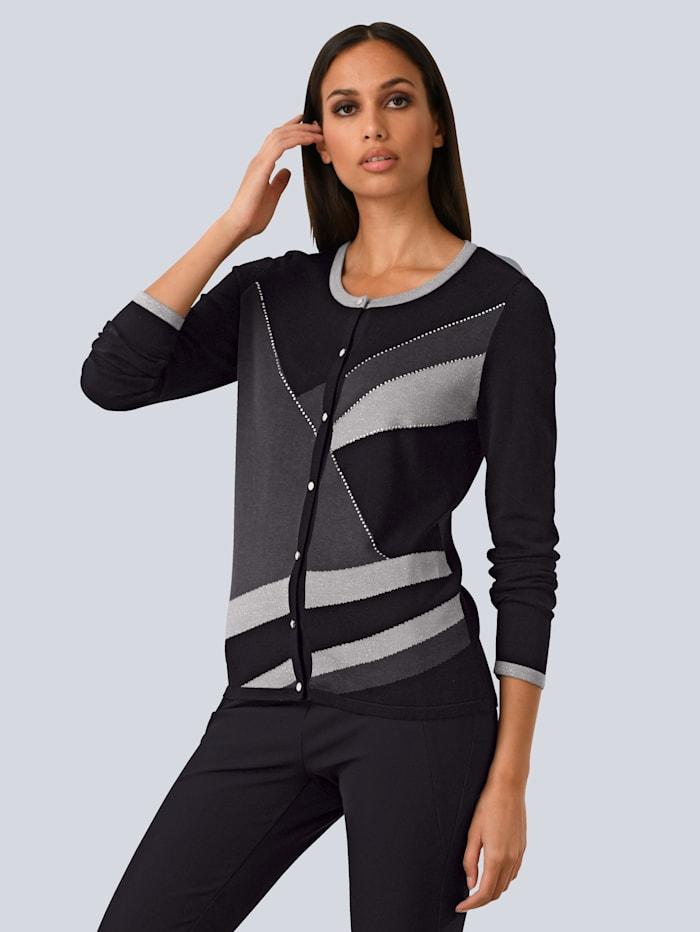 Alba Moda Vest met sierknopen, Zwart/Grijs