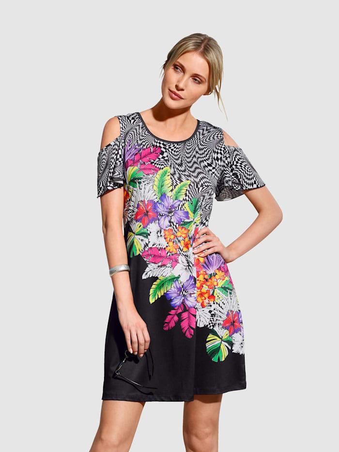 Maritim Strandkleid mit Cut-Outs an den Schultern, Schwarz/Weiß/Multicolor