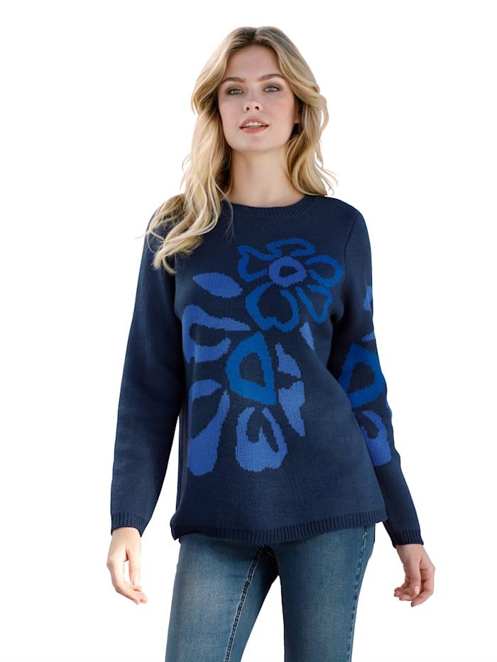 AMY VERMONT Pullover mit Blumenintarsien, Blau