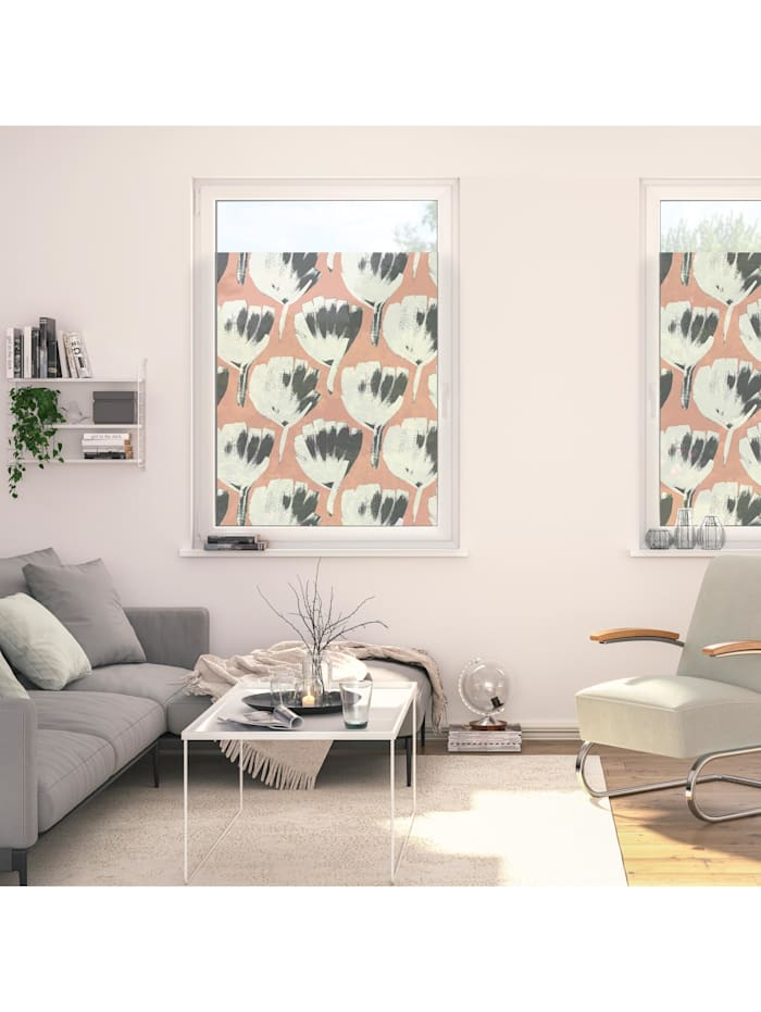 Fensterfolie selbstklebend, Sichtschutz, Jumbo Flowers on salmon - Rot