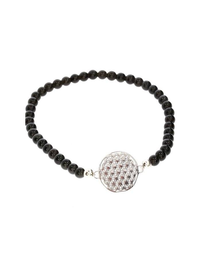 1001 Diamonds Armband 925 Silber Onyx, silber