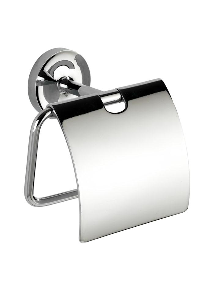 Wenko Power-Loc® Toilettenpapierhalter mit Deckel Arcole, Edelstahl, Befestigen ohne bohren, Chrom, Chrom
