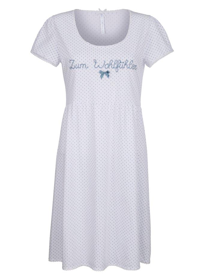Louis & Louisa Nachthemd in romantische babydoll-look, Wit/Blauw