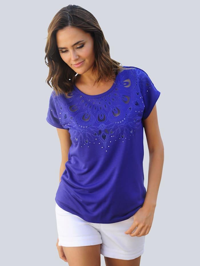 Alba Moda Strandshirt mit Ausbrennermotiv am Ausschnitt, Blau