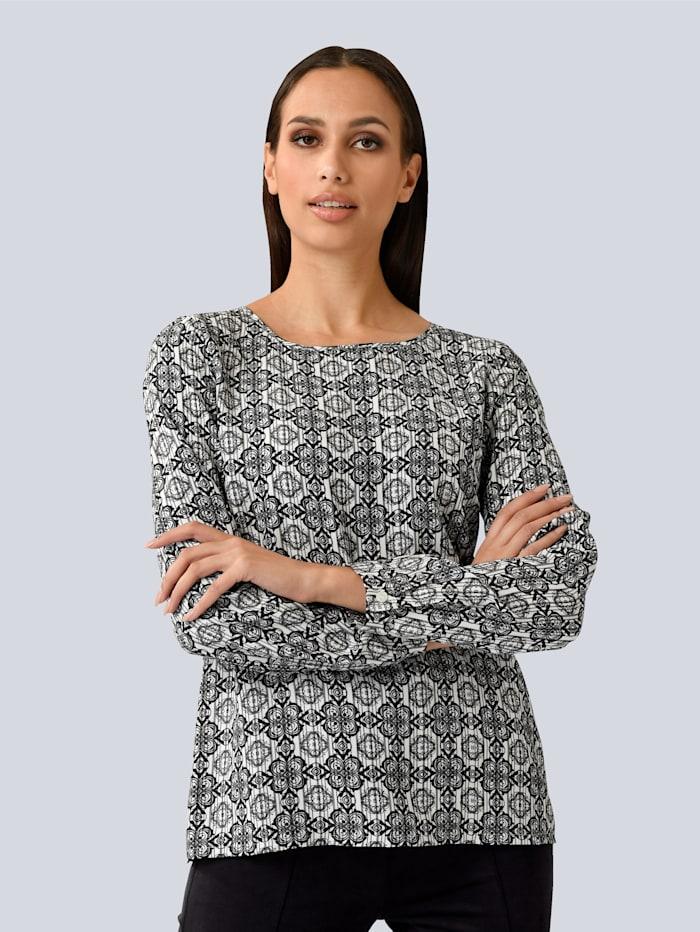 Alba Moda Blúzka s grafickým vzorom, Čierna/Biela