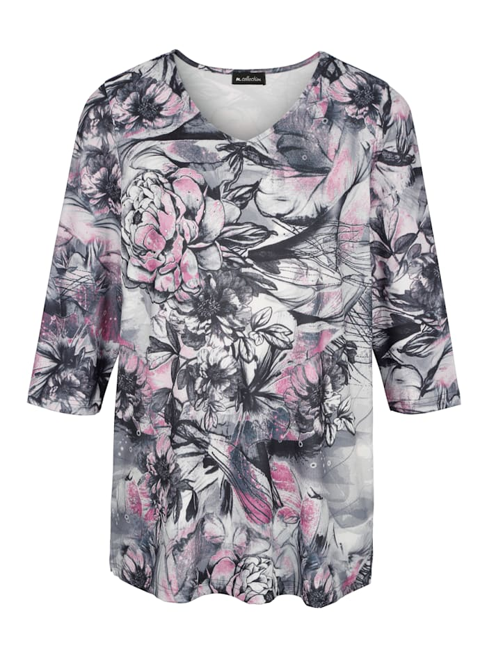 m. collection Shirt mit attraktivem plaziertem Blumendruck-Muster, Rosenholz/Grau