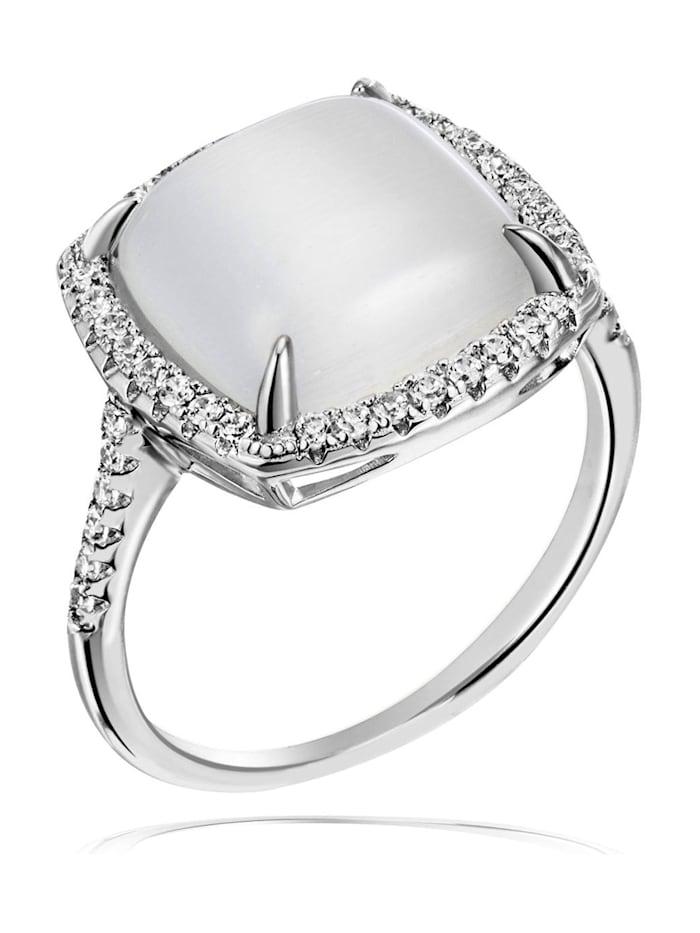 Goldmaid Ring Damenring 925 Silber synth. Mondstein, weiß