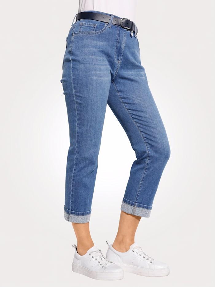 MONA 7/8 Jeans mit fixiertem Umschlag, Blau