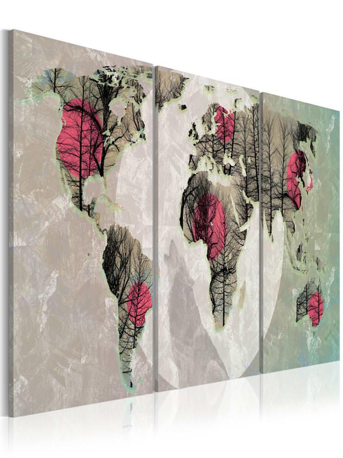 artgeist Wandbild Moonlight map, Beige,Schwarz,Grün,rosa,Weiß